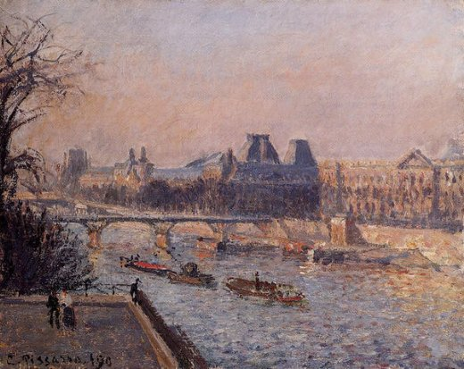camille pissarro the louvre afternoon painting
