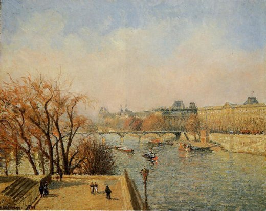 camille pissarro the louvre morning sun paintings