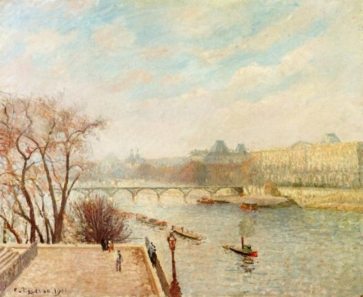 camille pissarro the louvre winter sunlight morning 2nd version paintings