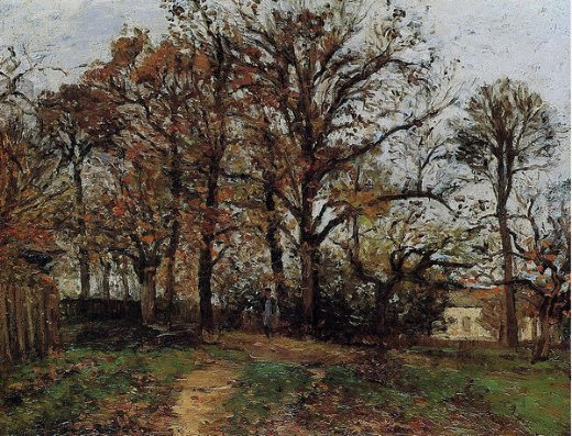 camille pissarro trees on a hill autumn landscape in louveciennes painting