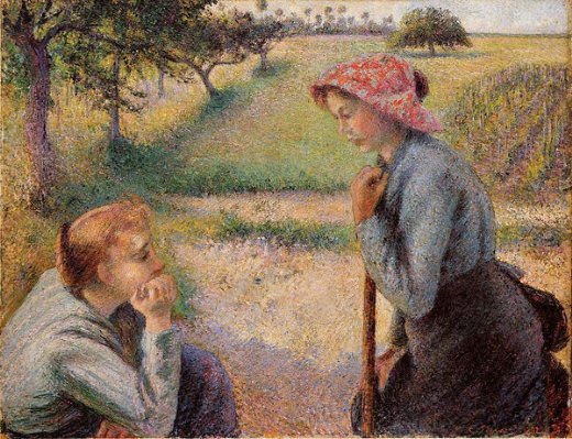camille pissarro two peasant woman chatting posters
