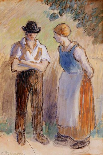 camille pissarro two peasants posters