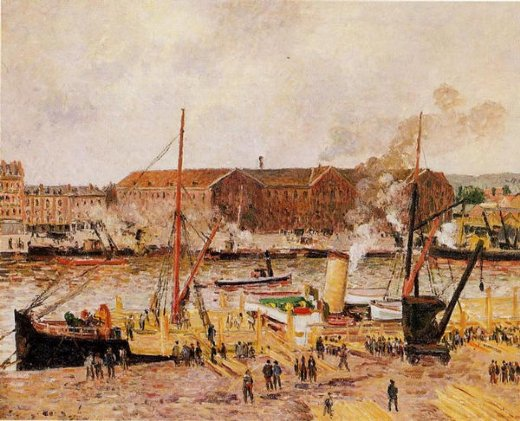 camille pissarro unloading wood at rouen paintings