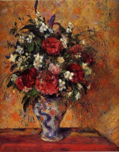 camille pissarro vase of flowers painting