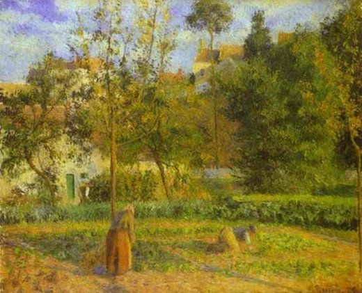 camille pissarro vegetable garden at l hermitage near pontoise oil painting