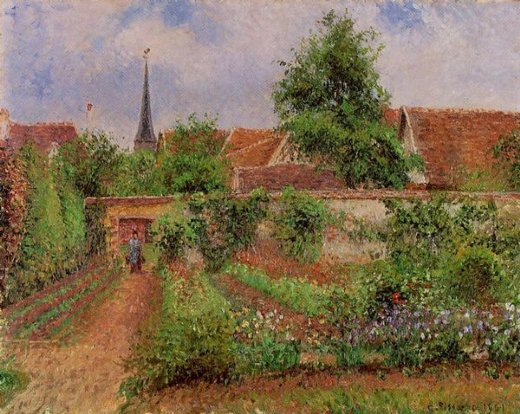 camille pissarro vegetable garden in eragny overcast sky morning painting