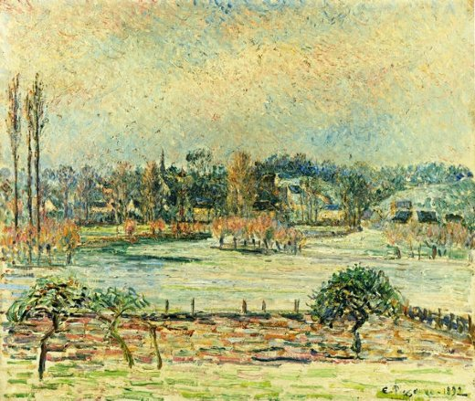 camille pissarro view of bazincourt flood morning effect posters