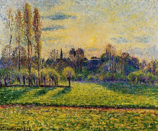 camille pissarro view of bazincourt sunset painting