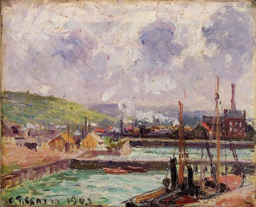 camille pissarro view of duquesne and berrigny basins in dieppe painting