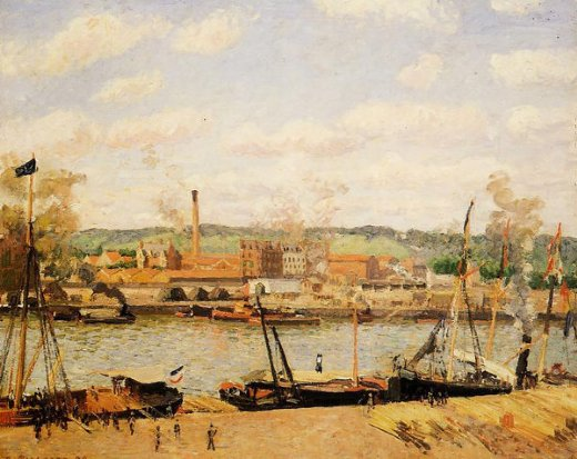 camille pissarro view of the cotton mill at oissel near rouen painting