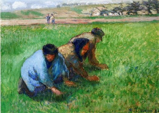 camille pissarro weeders painting