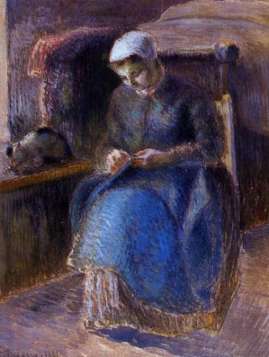 camille pissarro woman sewing painting