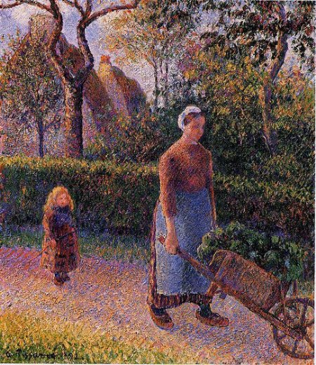 camille pissarro woman with a wheelbarrow painting