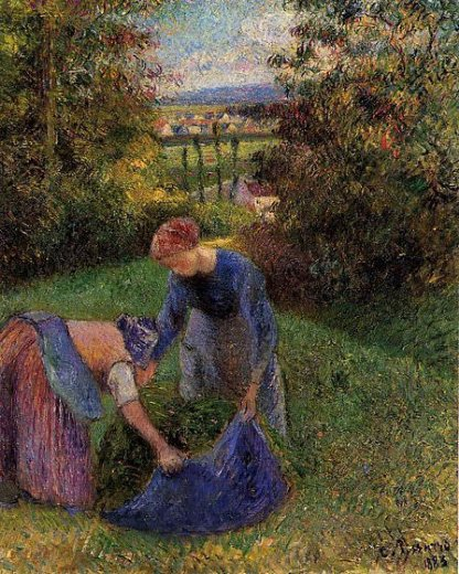 camille pissarro women gathering grass paintings
