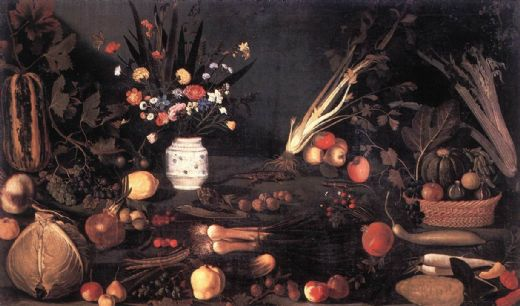 caravaggio still life with flowers and fruit painting
