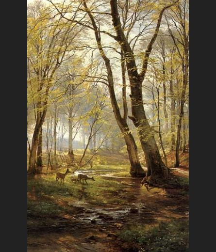 carl fredrik aagard a woodland scene with deer oil painting