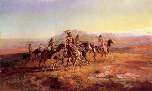 charles marion russell sun river war party oil painting