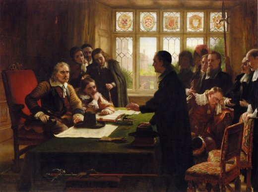 charles west cope oliver cromwell and his secretary john milton receiving a deputation seeking aid for the swiss protestants painting