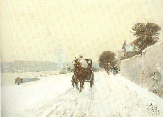 childe hassam along the seine winter paintings