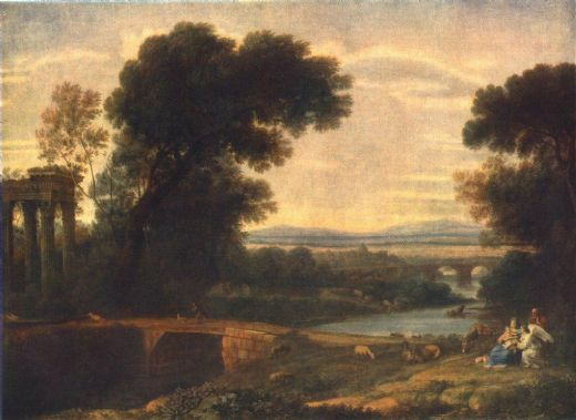 claude lorrain landscape with the rest on the flight into egypt oil painting