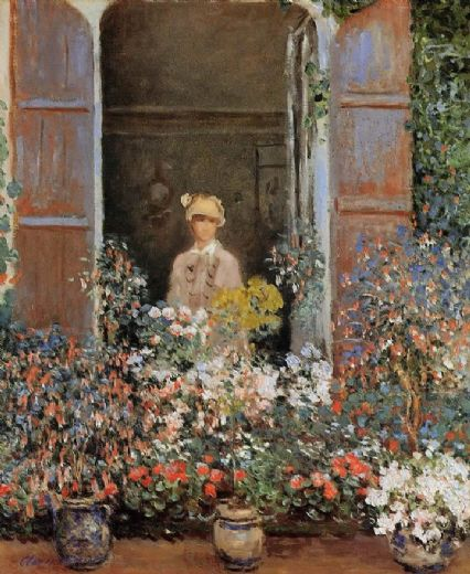 claude monet camille monet at the window argentuil painting