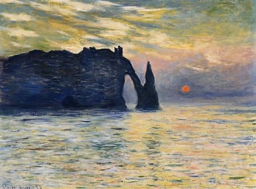 claude monet etretat sunset painting