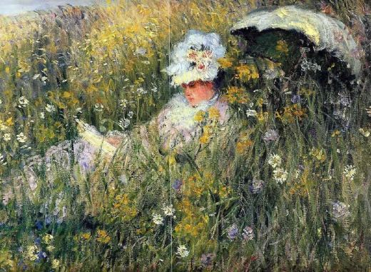 claude monet in the meadow painting