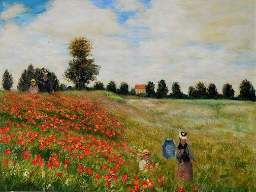claude monet poppy field in argenteuil painting