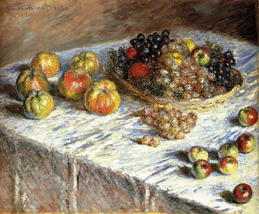 claude monet still life apples and grapes painting