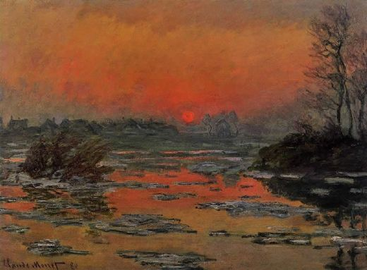 claude monet sunset on the seine in winter paintings