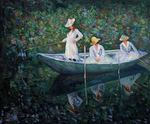 claude monet the boat at giverny painting