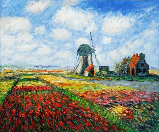 claude monet tulip field with the rijnsburg windmill paintings