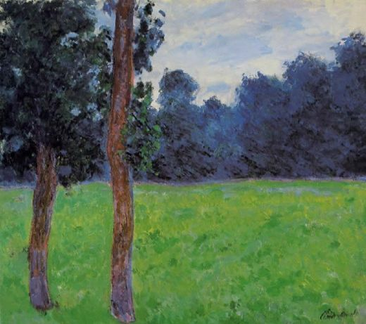 claude monet two trees in a meadow posters