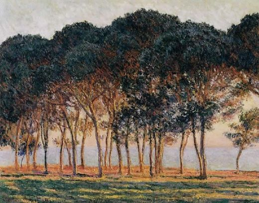 claude monet under the pine trees at the end of the day painting