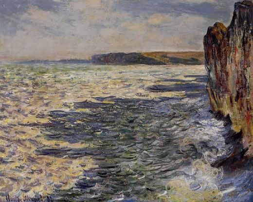 claude monet waves and rocks at pourville paintings