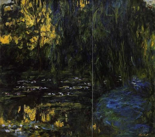 claude monet weeping willow and water lily pond 3 paintings