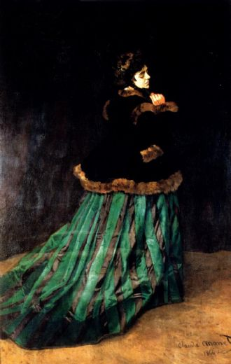 claude monet woman in a green dress paintings