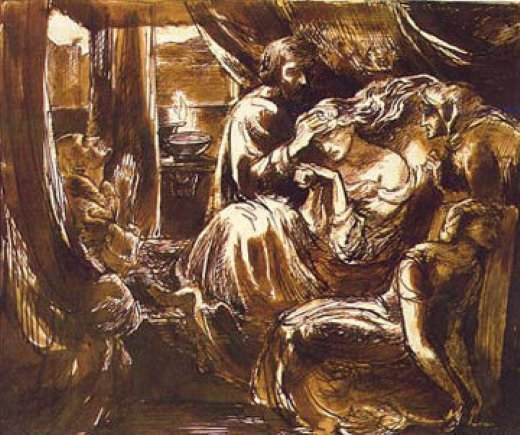dante gabriel rossetti study for the death of lady macbeth painting