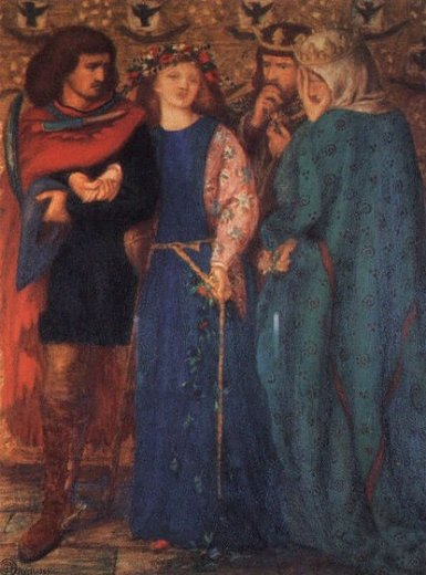 dante gabriel rossetti the first madness of ophelia paintings