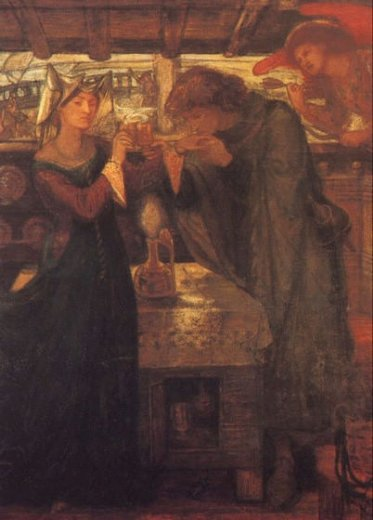 dante gabriel rossetti tristram and isolde drinking the love potion painting