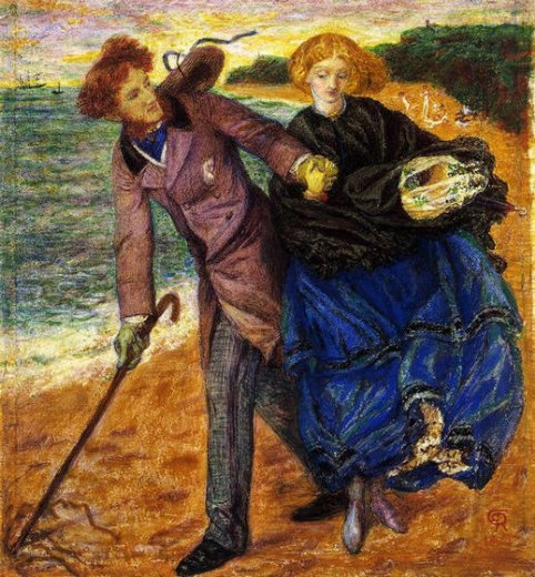 dante gabriel rossetti writing on the sand oil painting