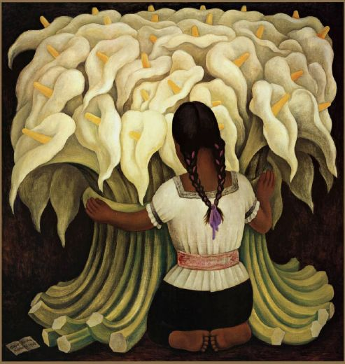 diego rivera girl with lilies painting