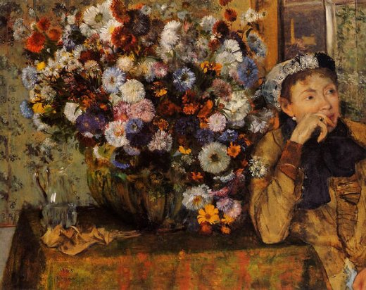 edgar degas a woman seated beside a vase of flowers painting