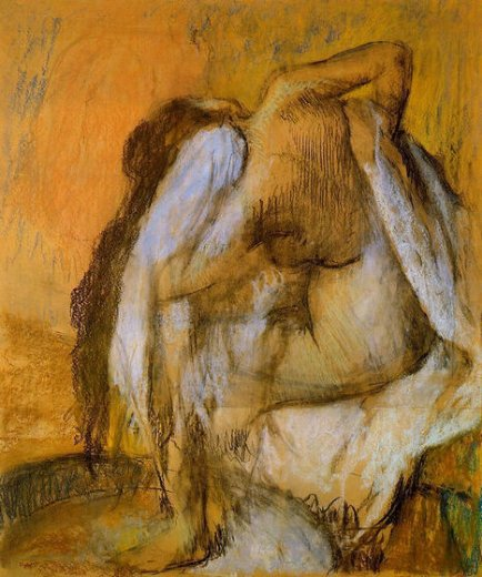 edgar degas after the bath woman drying herself paintings