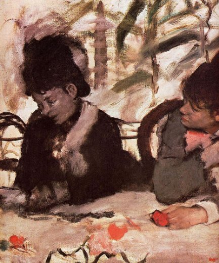 edgar degas at the cafe painting