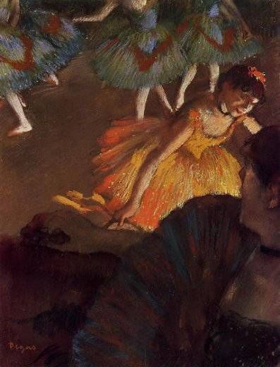 edgar degas ballerina and lady with a fan painting