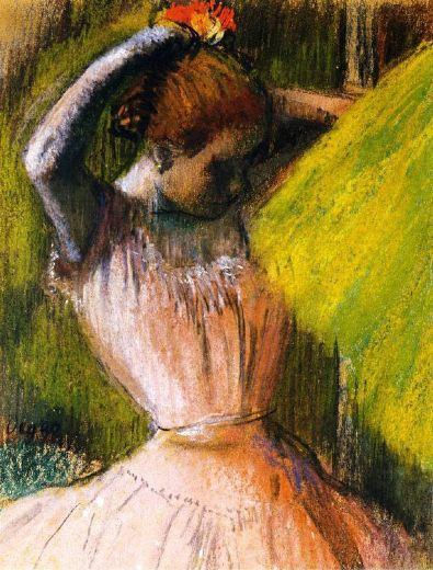 edgar degas ballet corps member fixing her hair paintings