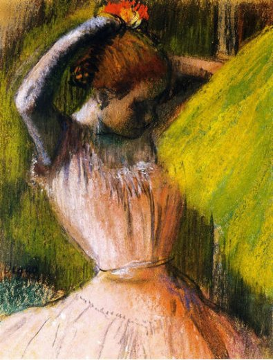edgar degas ballet corps member fixing her hair painting