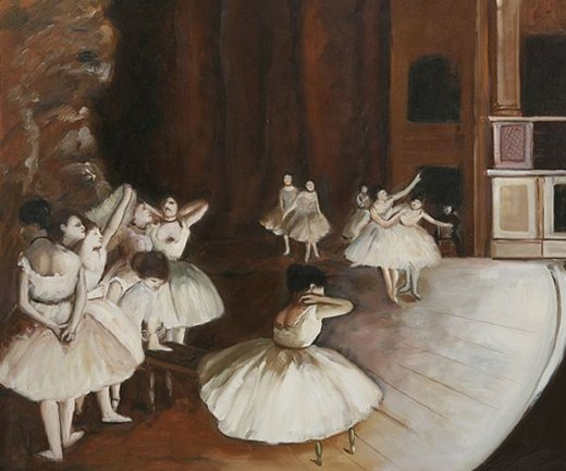 edgar degas ballet rehearsal on the stage painting