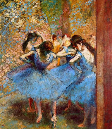 edgar degas dancers in blue paintings